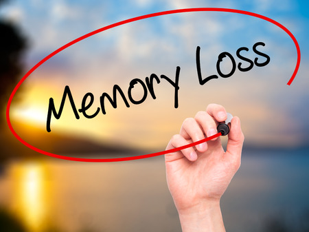 memory loss: Man Hand writing Memory Loss with black marker on visual screen. Isolated on nature. Business, technology, internet concept. Stock Photo