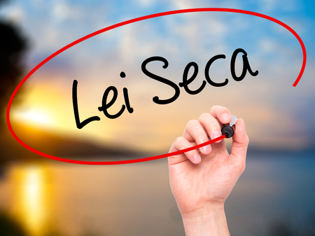 law of brazil: Man Hand writing Lei Seca (Prohibition Alcohol Law n Portuguese) with black marker on visual screen. Isolated on nature. Business, technology, internet concept. Stock Photo Stock Photo