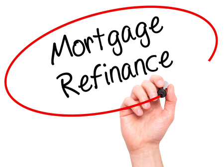 refinance: Man Hand writing Mortgage Refinance with black marker on visual screen. Isolated on white. Business, technology, internet concept. Stock Photo