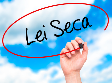 law of brazil: Man Hand writing Lei Seca (Prohibition Alcohol Law n Portuguese) with black marker on visual screen. Isolated on sky. Business, technology, internet concept. Stock Photo