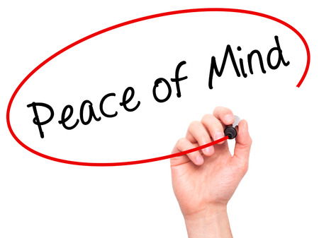 sense of security: Man Hand writing Peace of Mind black marker on visual screen. Isolated on white. Business, technology, internet concept. Stock Image