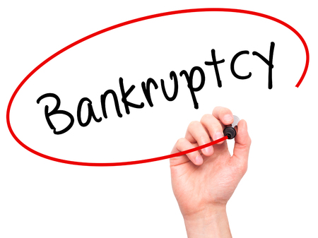 loss leader: Man Hand writing Bankruptcy with black marker on visual screen. Isolated on white. Business, technology, internet concept. Stock Image