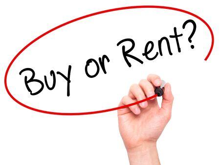 buying questions: Man Hand writing Buy or Rent? with black marker on visual screen. Isolated on white. Business, technology, internet concept. Stock Image
