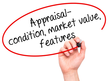 assessed: Man Hand writing Appraisal - condition, market value, features, with black marker on visual screen. Isolated on white. Business, technology, internet concept. Stock Image