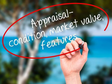 assessed: Man Hand writing Appraisal - condition, market value, features, with black marker on visual screen. Isolated on nature. Business, technology, internet concept. Stock Image Stock Photo