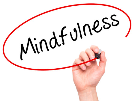 open minded: Man Hand writing Mindfulness  with black marker on visual screen. Isolated on white. Business, technology, internet concept. Stock Image