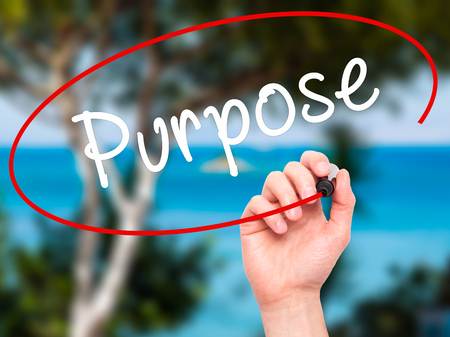philosophical: Man Hand writing Purpose with black marker on visual screen. Isolated on nature. Business, technology, internet concept. Stock Image