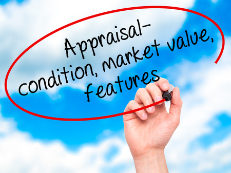 evaluated: Man Hand writing Appraisal - condition, market value, features, with black marker on visual screen. Isolated on sky. Business, technology, internet concept. Stock Image
