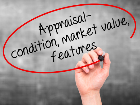 assessed: Man Hand writing Appraisal - condition, market value, features, with black marker on visual screen. Isolated on grey. Business, technology, internet concept. Stock Image