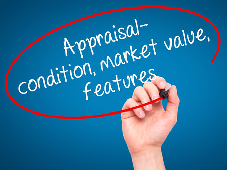 appraise: Man Hand writing Appraisal - condition, market value, features, with black marker on visual screen. Isolated on blue. Business, technology, internet concept. Stock Image