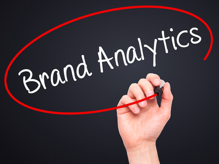 brand monitoring: Man Hand writing Brand Analytics with black marker on visual screen. Isolated on background. Business, technology, internet concept. Stock Photo