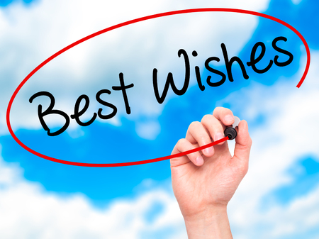 acclaim: Man Hand writing Best Wishes  with black marker on visual screen. Isolated on sky. Business, technology, internet concept. Stock Photo