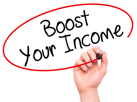 remuneraci�n: Man Hand writing Boost Your Income with black marker on visual screen. Isolated on white. Business, technology, internet concept. Stock Photo Foto de archivo