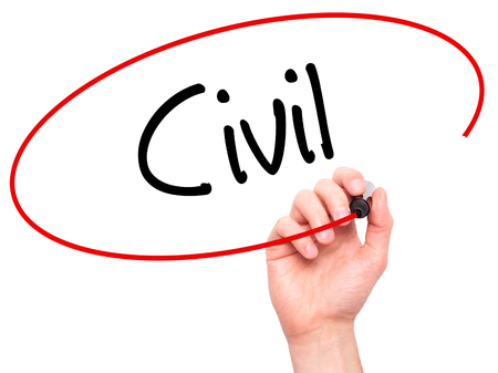 Man Hand writing Civil with black marker on visual screen. Isolated on background. Business, technology, internet concept. Stock Photo