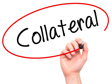 collateral: Man Hand writing Collateral with black marker on visual screen. Isolated on white. Business, technology, internet concept. Stock Photo Stock Photo