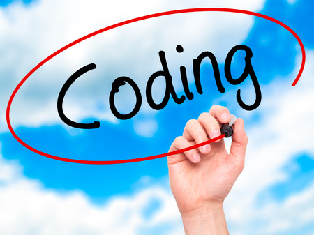 programer: Man Hand writing Coding with black marker on visual screen. Isolated on background. Business, technology, internet concept. Stock Photo