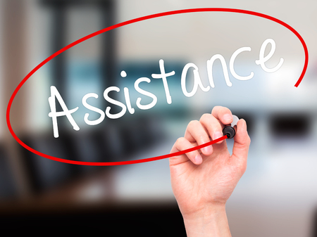 personal data assistant: Man Hand writing Assistance with black marker on visual screen. Isolated on background. Business, technology, internet concept. Stock Photo Stock Photo
