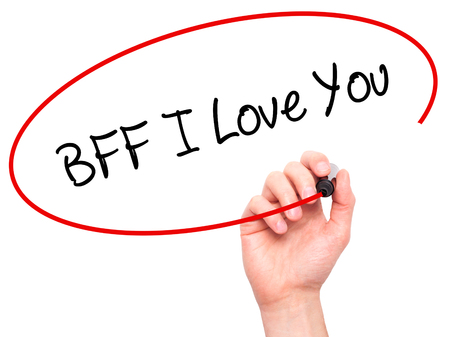 nota: Man Hand writing BFF I Love You with black marker on visual screen. Isolated on white. Business, technology, internet concept.