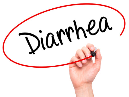 gastroenteritis: Man Hand writing  Diarrhea  with black marker on visual screen. Isolated on background. Business, technology, internet concept. Stock Photo