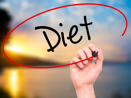 nutricion: Man Hand writing Diet (in Portuguese)  with black marker on visual screen. Isolated on nature. Business, technology, internet concept. Stock Photo