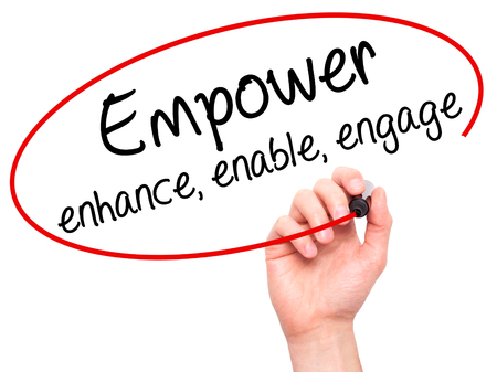 enable: Man Hand writing Empower enhance, enable, engage with black marker on visual screen. Isolated on white. Business, technology, internet concept. Stock Photo