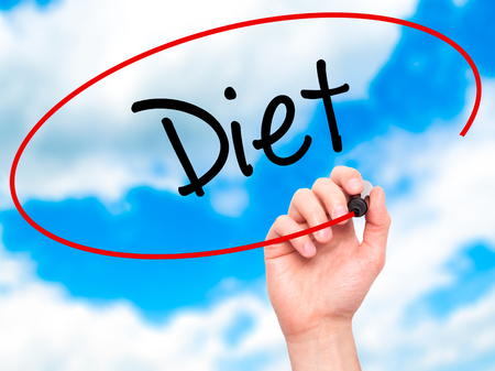 nutricion: Man Hand writing Diet (in Portuguese)  with black marker on visual screen. Isolated on sky. Business, technology, internet concept. Stock Photo