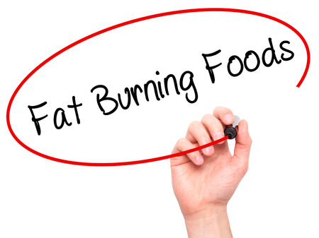 fat burning: Man Hand writing Fat Burning Foods with black marker on visual screen. Isolated on white. Business, technology, internet concept. Stock Photo