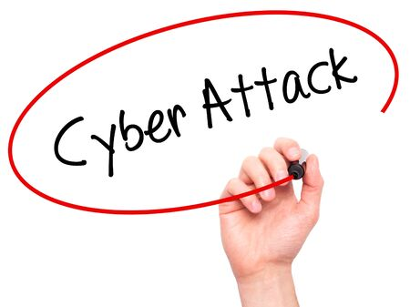 cyber war: Man Hand writing Cyber Attack with black marker on visual screen. Isolated on white. Business, technology, internet concept. Stock Photo