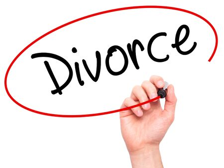 ex wife: Man Hand writing Divorce  with black marker on visual screen. Isolated on white. Business, technology, internet concept. Stock Photo Stock Photo