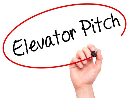business pitch: Man Hand writing Elevator Pitch with black marker on visual screen. Isolated on white. Business, technology, internet concept. Stock Photo