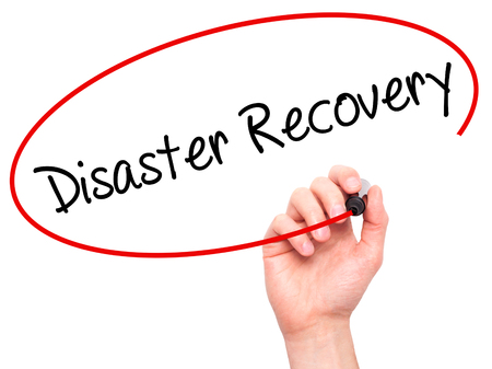mindmap: Man Hand writing Disaster Recovery with black marker on visual screen. Isolated on background. Business, technology, internet concept. Stock Photo Stock Photo