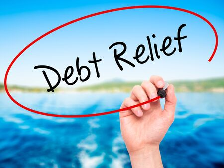 trouble free: Man Hand writing Debt Relief with black marker on visual screen. Isolated on nature. Business, technology, internet concept. Stock Photo