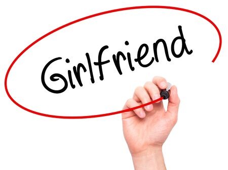 severance: Man Hand writing Girlfriend with black marker on visual screen. Isolated on white. Business, technology, internet concept. Stock Photo