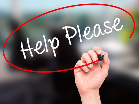 reach customers: Man Hand writing Help Please with black marker on visual screen. Isolated on background. Business, technology, internet concept. Stock Photo