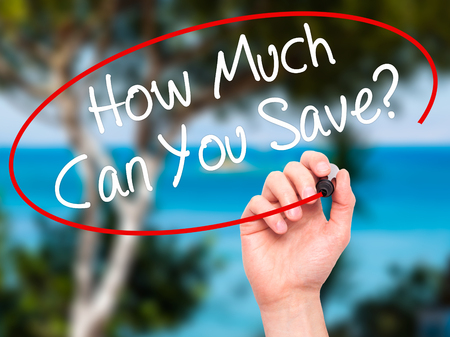 budgetary: Man Hand writing How Much Can You Save? with black marker on visual screen. Isolated on nature. Business, technology, internet concept. Stock Photo