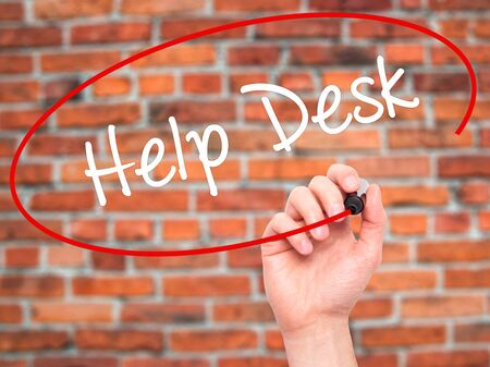 virtual assistant: Man Hand writing Help Desk with black marker on visual screen. Isolated on background. Business, technology, internet concept. Stock Photo Stock Photo
