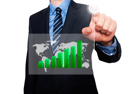 Businessman in dark suit pushing button worldmap global Growth. Green Graph going up. White - Stock Photo Stock Photo