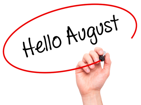 hi back: Man Hand writing Hello August with black marker on visual screen. Isolated on white. Business, technology, internet concept. Stock Photo