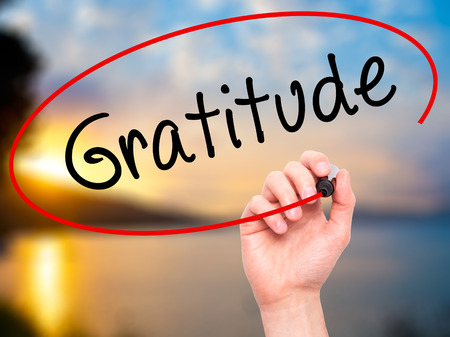 thankfulness: Man Hand writing Gratitude with black marker on visual screen. Isolated on nature. Business, technology, internet concept. Stock Photo