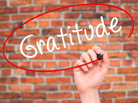 compassionate: Man Hand writing Gratitude with black marker on visual screen. Isolated on bricks. Business, technology, internet concept. Stock Photo Stock Photo