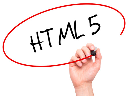 html 5: Man Hand writing HTML 5 with black marker on visual screen. Isolated on white. Business, technology, internet concept. Stock Photo