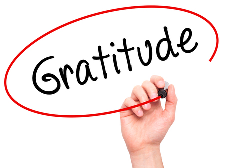 payer: Man Hand writing Gratitude with black marker on visual screen. Isolated on white. Business, technology, internet concept. Stock Photo