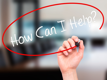 raising cans: Man Hand writing How Can I Help? with black marker on visual screen. Isolated on office. Business, technology, internet concept. Stock Photo Stock Photo