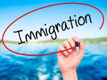 immigrate: Man Hand writing Immigration with black marker on visual screen. Isolated on nature. Business, technology, internet concept. Stock Photo