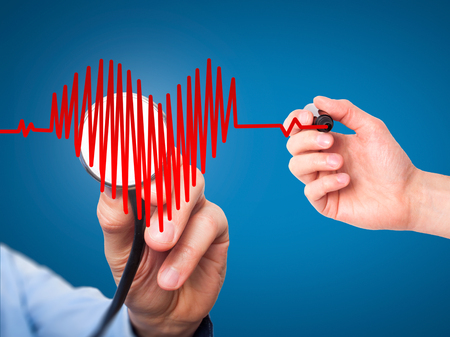 preventive medicine: Closeup portrait doctor hand listening to heart beat in heart shape with stethoscope isolated on blue background. Preventive medicine concept