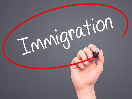 immigrate: Man Hand writing Immigration with black marker on visual screen. Isolated on grey. Business, technology, internet concept. Stock Photo