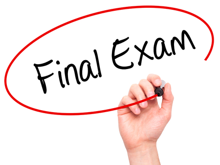 Man Hand writing Final Exam with black marker on visual screen. Isolated on white. Business, technology, internet concept. Stock Photo