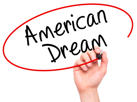 ethos: Man Hand writing American Dream with black marker on visual screen. Isolated on white. Business, technology, internet concept. Stock Image