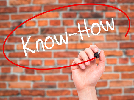 knowhow: Man Hand writing Know-How  with black marker on visual screen. Isolated on background. Business, technology, internet concept. Stock Photo Stock Photo