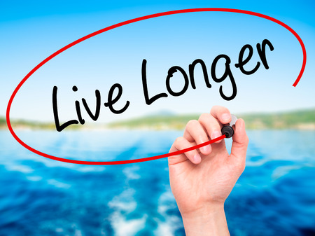 longer: Man Hand writing Live Longer with black marker on visual screen. Isolated on nature. Business, technology, internet concept. Stock Photo Stock Photo